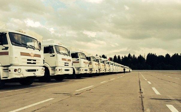 Convoiul rus trimis spre Ucraina.
