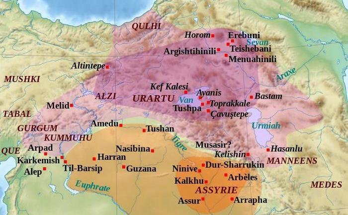 Hartă cu localizarea aproximativă a oraşului antic Musasir în vechiul Regat Urartu.