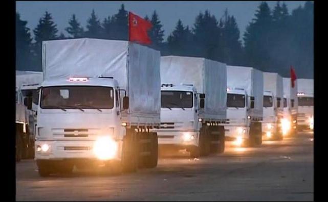 Convoiul umanitar trimis de Rusia în estul  Ucrainei.