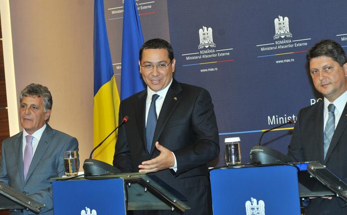 Declaraţii de presă la sediul Ministerului Afacerilor Externe (MAE) susţinute de Victor Ponta, Titus Corlăţean şi Mircea Duşa