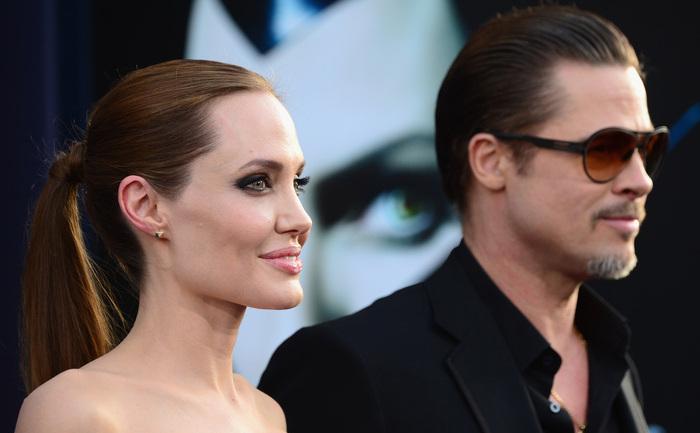 Angelina Jolie împreună cu Brad Pitt 28 mai 2014, în Hollywood, California.