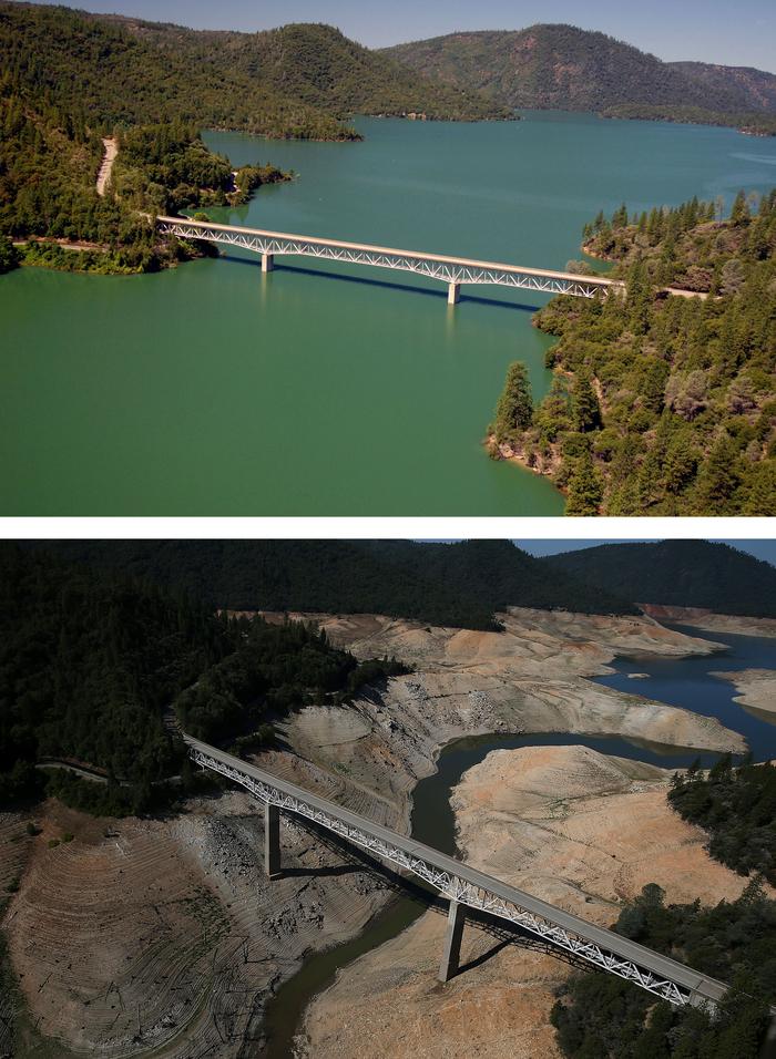 LaculOroville, la 20 iulie 2011 şi 19 august 2014. Lacul a pierdut 68% din suprafaţă datorită secetei care ameninţă California.