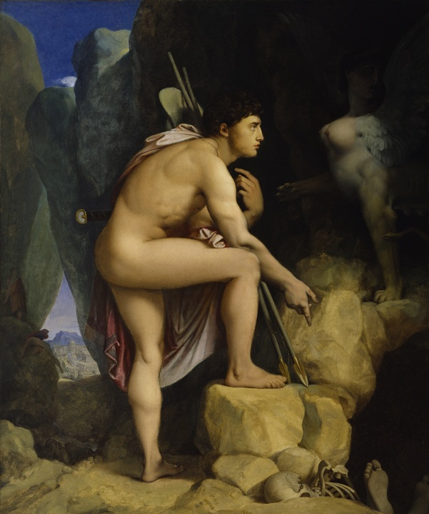 """""""Oedip şi Sfinxul"""", pictură de Jean Auguste Dominique Ingres. Aici, Oedip este portretizat în urma descifrării ghicitorii Sfinxului, înainte ca această creatură să se arunce de pe stâncă, eliberând astfel cetatea Tebei."""
