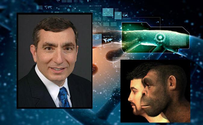 Stânga: Dr. James Tour (prin bunăvoinţa lui James Tour) Dreapta: Reprezentare a evoluţiei umane