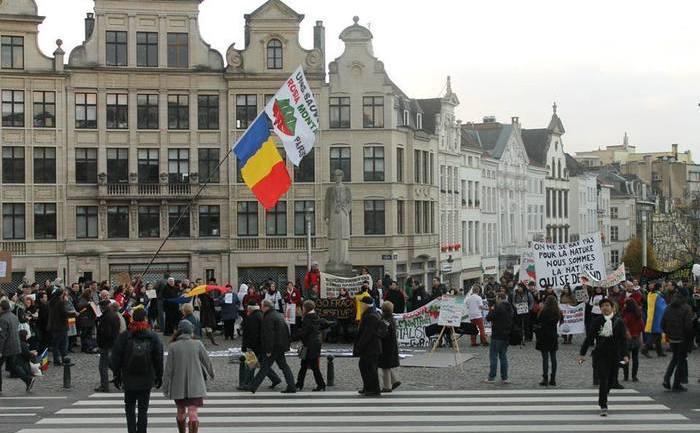 Reuniune a românilor din numeroase oraşe din diaspora la Bruxelles, 1 decembrie 2013.