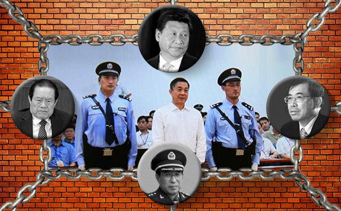 Zhou Yongkang (stânga); Xi Jinping (sus); Li Dongsheng (dreapta); General Xu Caihou (jos); Condamnarea lui Bo  Xilai, septembrie 2013 în Beijing, China (centru)