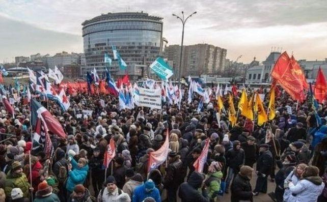 Ruşii protestează în Moscova împotriva reformei sănătăţii, 30 noiembrie 2014.