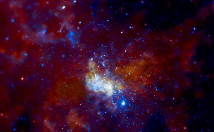 Gaura neagră supermasivă Sagitarius A suprinsă de telescopul spaţial Chandra.