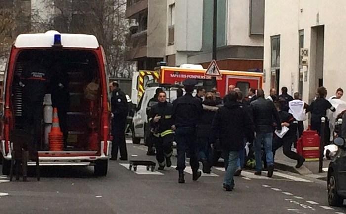 Sediul ziarului Charlie Hebdo din Paris, 7 ianuarie, după atacul în care au fost omorâţi 11 oameni