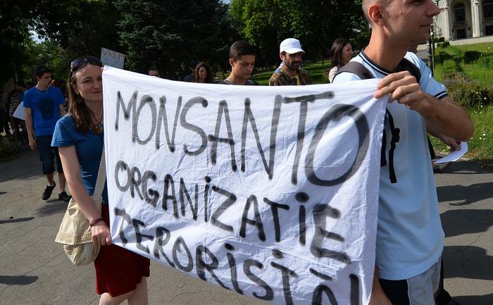 Demonstraţie în Bucureşti împotriva companiei Monsanto