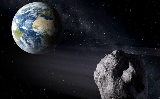 Imaginea unui artist privind un asteroid ce se apropie de Pământ.