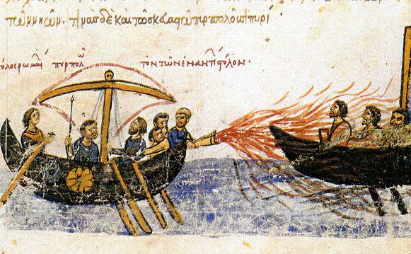 """1. """"Focul grecesc"""" era un produs incendiar folosit de bizantinii din evul mediu. Imagine din manuscrisul ilustrat """"Skylitzes"""" din Madrid"""