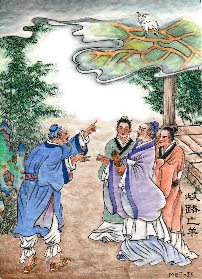 Unul dintre oamenii care plecaseră pentru a ajuta la găsirea oii rătăcite s-a întors cu mâna goală, spunându-i lui Yangzi că erau atât de multe răspântii încât nu a ştiut ce cale să urmeze.