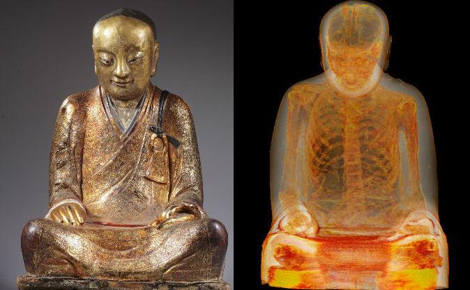 Mumia maestrului budist  Liuquan, ce se poate vedea într-un statuie a unui Buddha prin scanare