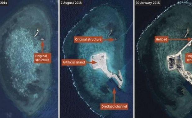 Imaginile  de satelit arată progresul făcut de China în perioada martie 2014 - 30  ianuarie 2015 (de la st la dr) în privinţa construirii unei insule în Reciful Gaven din  Insulele Spratly.