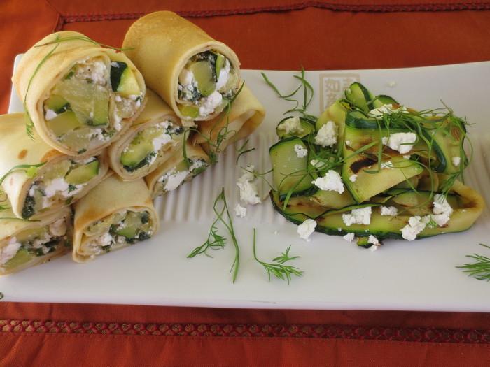 Clătite umplute cu dovlecei si brânză