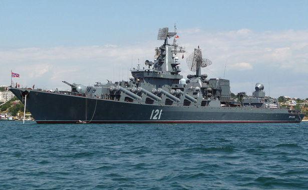 Distrugătorul Moskva în portul Sevastopol.