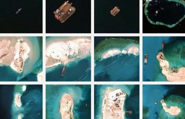 Imagini cu activităţile chineze în Reciful Mischief din Insulele Spratly, la începutul anului 2015.