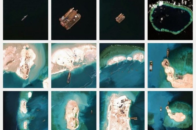 Imagini ale lucrărilor efectuate de China pe Reciful Mischief, insulele Spratly, la începutul lui 2015