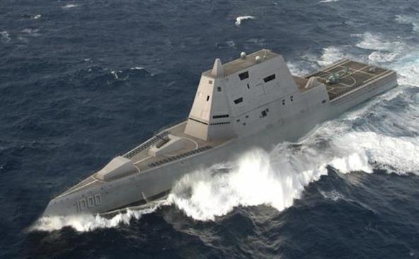 Distrugătorul american USS Zumwalt.