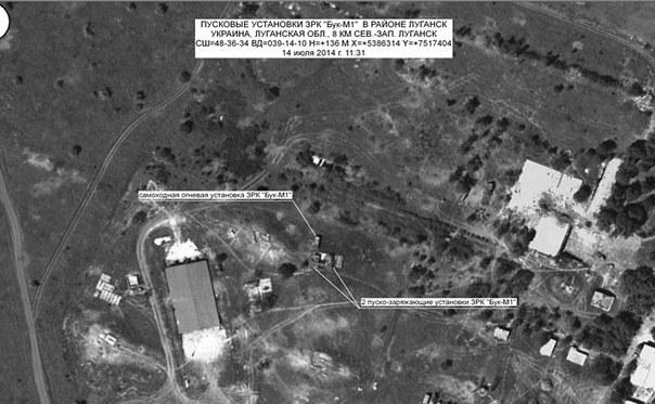 Imagine din satelit care ar arăta locul unor unităţi Buk lansatoare de rachete. Aparţine Ministerului Apărării al Rusiei