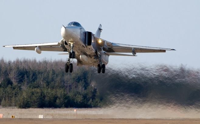 Un avion de luptă rusesc Su-24.