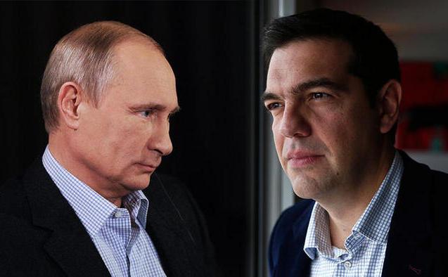 Preşedintele rus Vladimir Putin (st) şi premierul grec Alexis Tsipras.