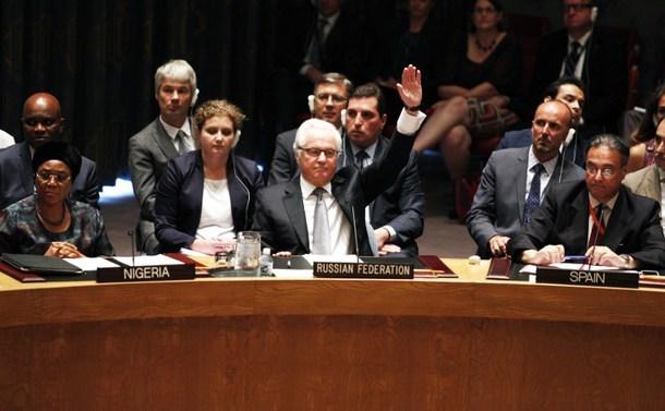 Ambasadorul rus la ONU Vitali Churkin se opune prin veto înfiinţării unui tribunal internaţional pentru judecarea celor vinovaţi de prăbuşirea zborului malaezian MH17, în cadrul unei întâlniri a CSONU la New York, 29 iulie 2015.