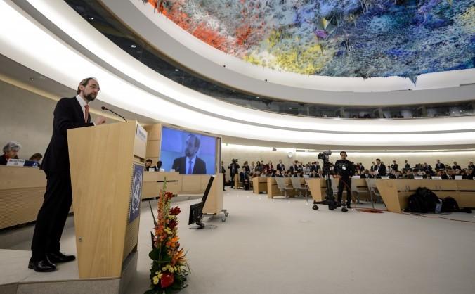 Înaltul Comisar ONU pentru drepturile omului, Zeid Ra'ad Al Hussein pe 2 martie 2015, la deschiderea sesiunii Consiliului ONU pentru Drepturile Omului - UNHRC - Geneva.