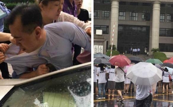 Shan Jiuliang este înconjurat de investitorii furioşi (st). Oamenii protestează în faţa sediului bursei Fanya (dr).