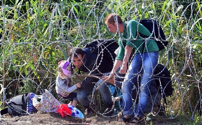 Imigranţi la graniţa dintre Ungaria şi Serbia, 28 august 2015