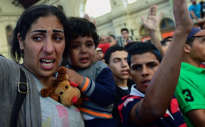 Refugiaţi în gara Keleti din Budapesta