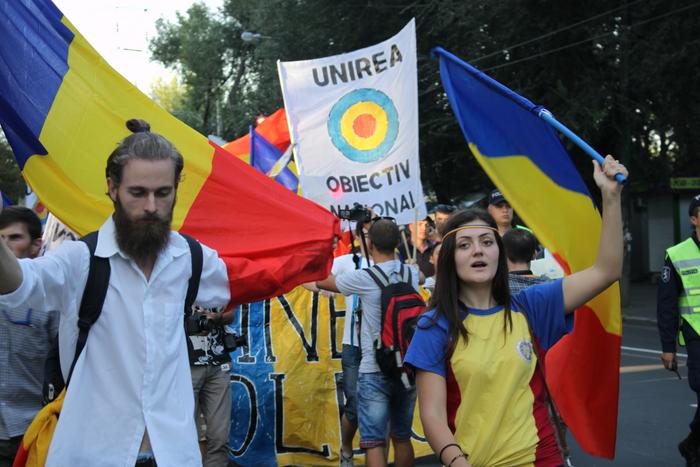 Tinerii Moldovei într-un marş unionist la Chişinău, 19 septembrie