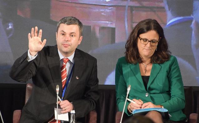 Sorin Moisă, Membru al Parlamentului European şi Cecilia Malmström, Comisarul European pentru Comerţ