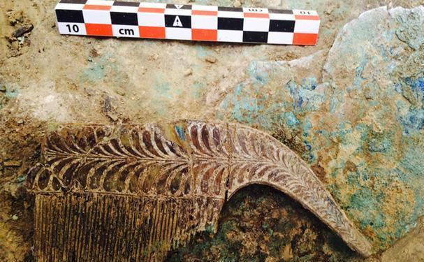 Un pieptene de fildeş descoperit în interiorul mormântului soldatului din peninsula Penepolez.