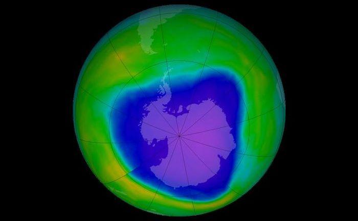 Gaura în stratul de ozon la 4 octombrie 2015, conform datelor colectate de Total Ozone Mapping Spectrometer.