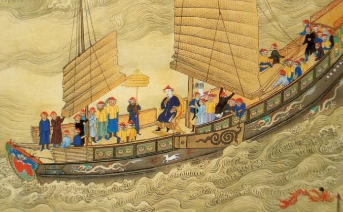 Împăratul Kangxi într-o călătorie la începutul secolului al 18-lea, în timpul Dinastiei Qing.