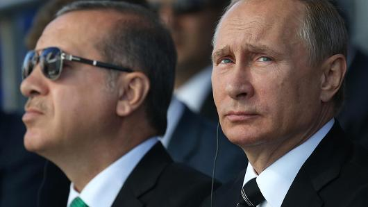 Vladimir Putin împreună cu Recep Erdogan