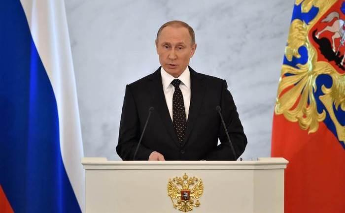 Preşedintele rus Vladimir Putin susţine discursul său anual către naţiune la Kremlin, 3 decembrie 2015.