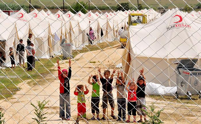 O tabără de refugiaţi sirieni din Turcia.