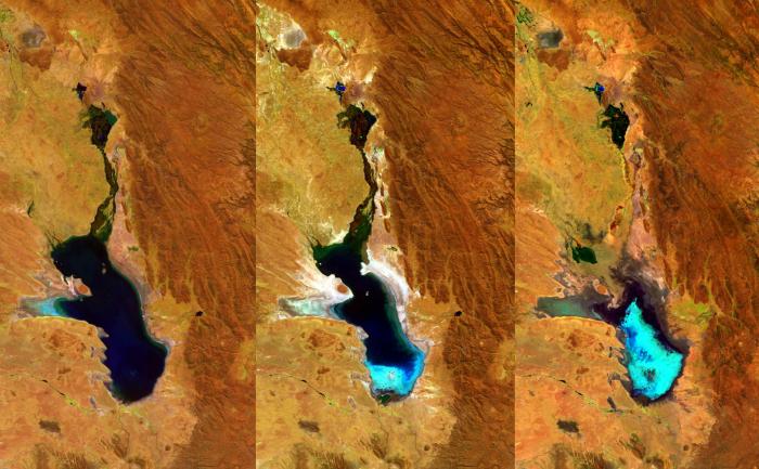 Trei imagini ale lacului Poopò din Bolivia, capturate de ESA