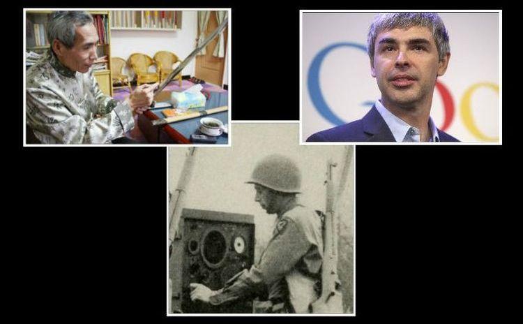 (Pe rândul de sus, de la st. la dr.) Chen Shih-Tsung şi Larry Page. În cea de-a treia poză este armă inventată de David B. Parkinson.
