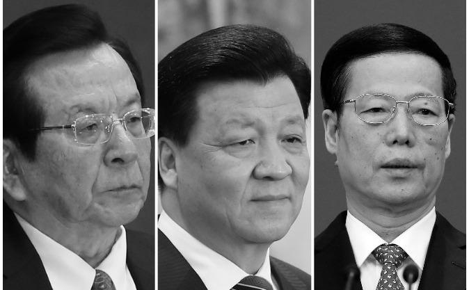 (S-D) fostul vicepreşedinte Zeng Qinghong, şi doi membri ai Politburo Liu Yunshan şi Zhang Gaoli