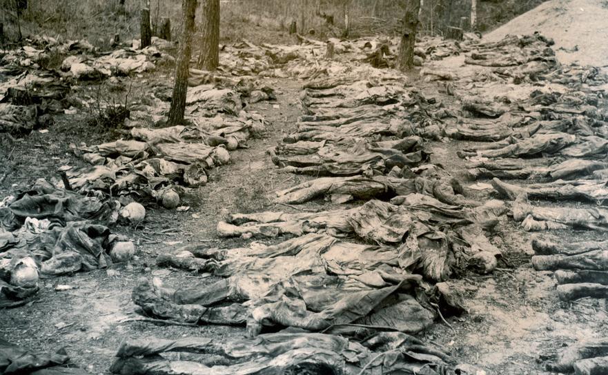 Rămăşiţele ofiţerilor polonezi executaţi din ordinul lui Stalin, la Katyn, 1940.