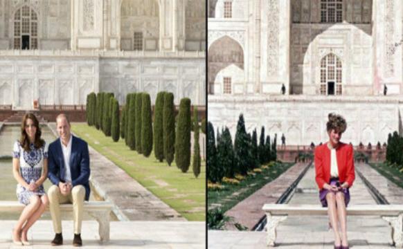 """Taj Mahal, Indis:  William şi Kate s-au aşezat împreună pe aceeaşi canapea unde, în 1992, a fost fotografiată Diana singură, rămasă în istorie precum """"canapeaua de Lady D""""."""