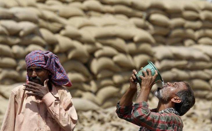Un muncitor bea apă într-o zi călduroasă de vară în Chandigarh,  India, 19 aprilie 2016.