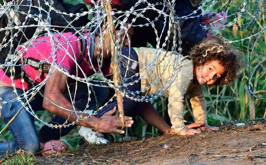 Refugiaţi se târăsc pe sub un gard de sârmă ghimpată la graniţa sârbo-ungară în apropiere de Roszke, Ungaria, 27 august 2015.