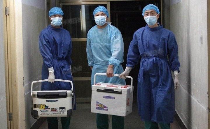 Medici chinezi cărând recipiente cu organe transplantate la un spital din provincia Henan, 16 august 2012