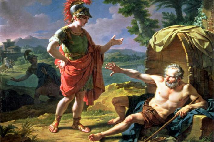 """Potrivit tradiţiei, Alexandru a fost prieten şi cu filosoful Diogene din Sinope, cinicul. Vizitat de către Alexandru în """"vila-butoi"""" unde locuia şi întrebat: """"Eu, Alexandru, împărat al lumii, ce pot să-ţi dau?"""", a dat un răspuns memorabil: """"Nu poţi tu să-mi dai ceea ce îmi iei: dă-te la o parte din lumina soarelui!"""" Plin de admiraţie, eroul ar fi zis: """"Dacă n-aş fi fost Alexandru, adică un tânăr condamnat să cucerească lumea, aş fi vrut să fiu Diogene, un om liber""""."""