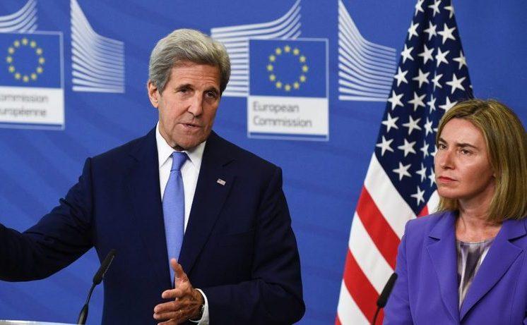 John Kerry împreună cu Frederica Mogherini, 20 iulie 2016